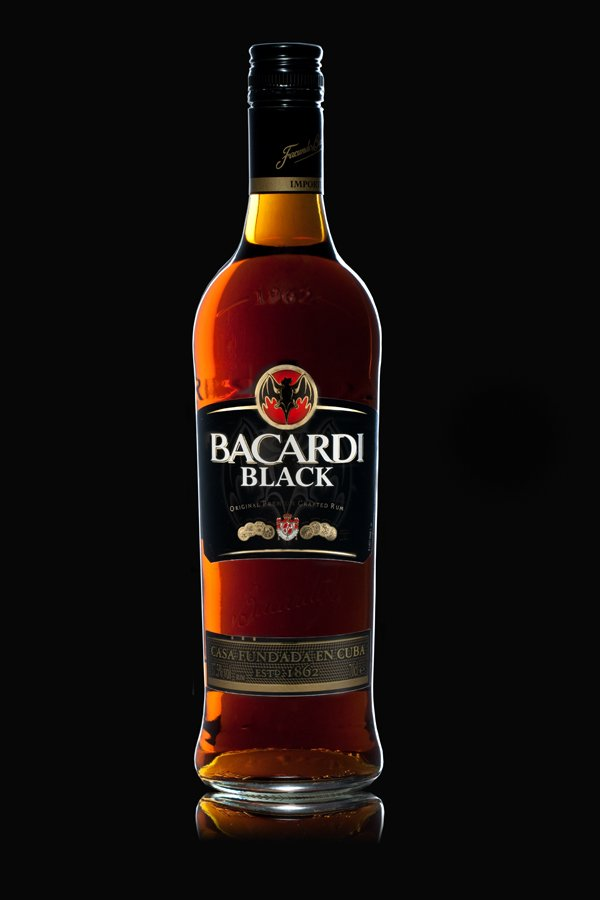 A bottle of Bacardi Black