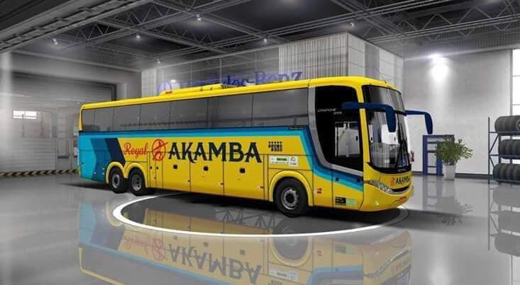Akamba Royal bus with logo on the side