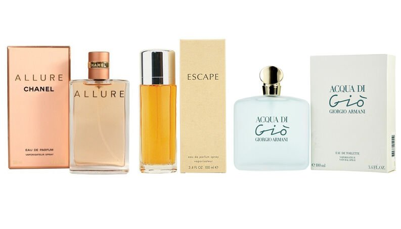 best female perfumes in Kenya: Allure, Escape, Acqua di Gio for women