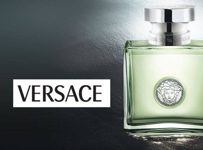 Versace logo with cologne bottle at scents kenya