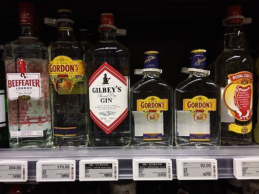 Gordons vs Beefeater: Gins on a shelf