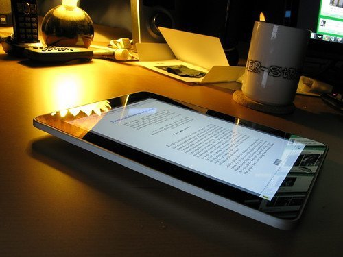 Reading text on a tablet