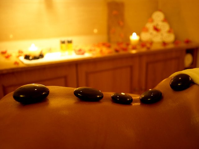 Hot stone on a back during a massage