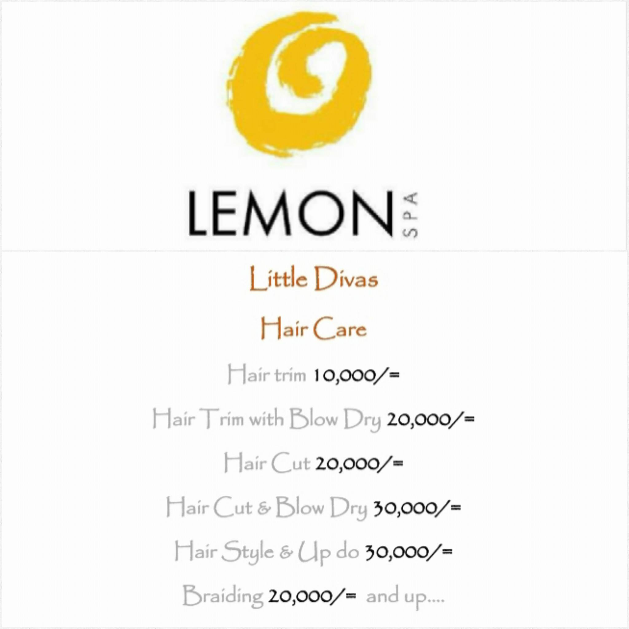 Lemon Spa Menu for Kids