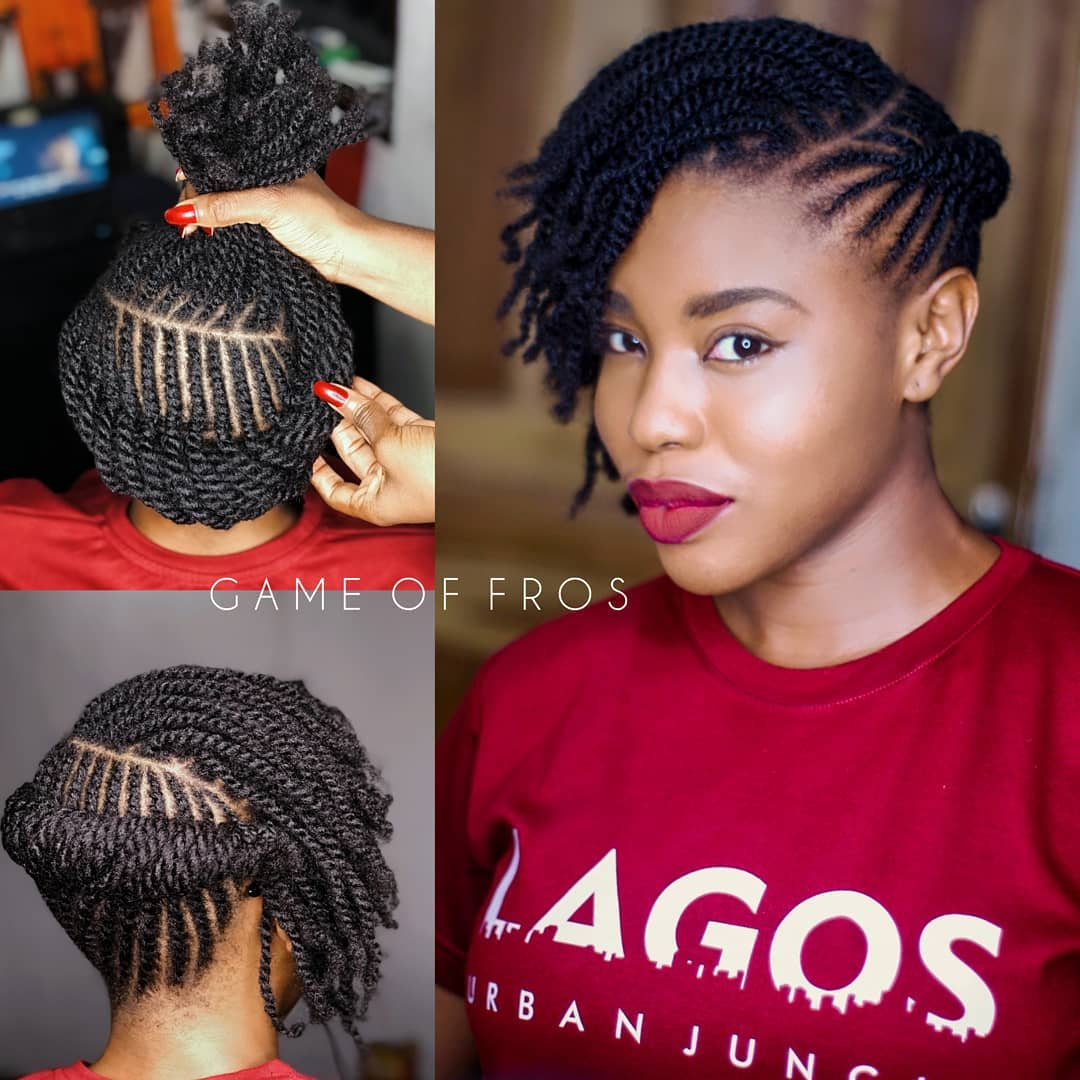 latest hairstyles for ladies in Kenya 2021: Back rolled up flat twists with fringe