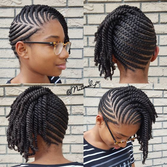 latest hairstyles for ladies in Kenya 2021: Side swept cornrows with forward flat twists