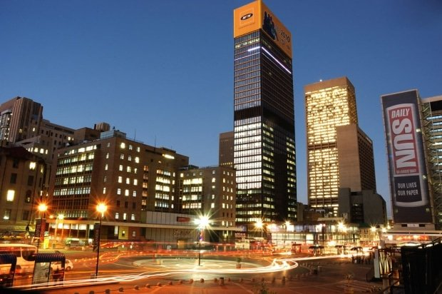 Johannesburg hop on hop off tour first stop: Ghandi Square, Johannesburg at Night