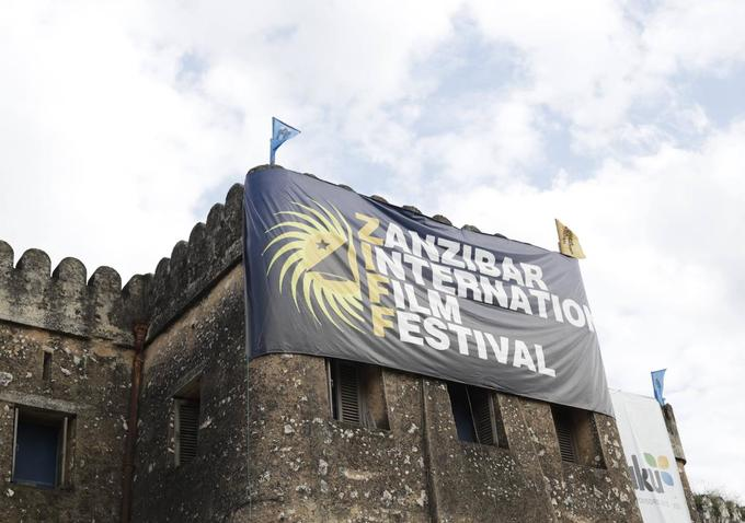 Zanzibar International Film Festival Banner in front of Old Fort, Zanzibar