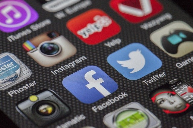 Facebook mobile app and other apps on a smartphone