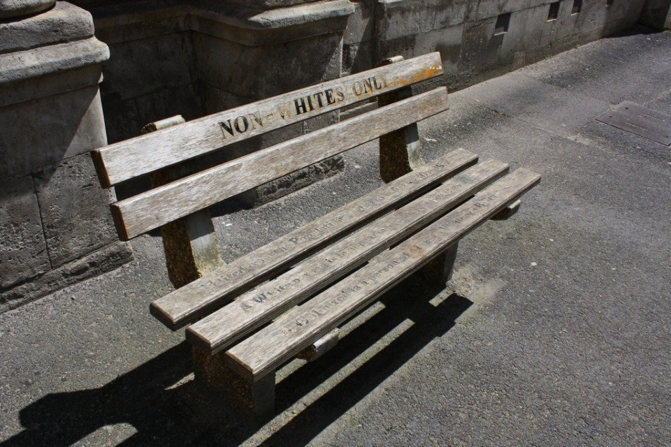 A bench for non-whites in Apartheid South Africa