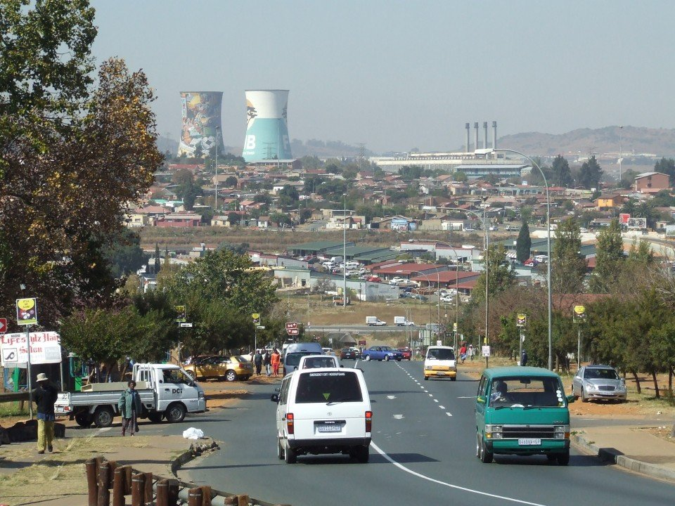 Minivans on the road in Soweto, a common form of travel in South Africa