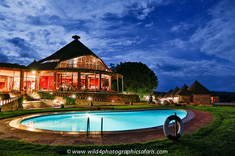 Ngorongoro Sopa Lodge Images -- the restaurant from the pool at night