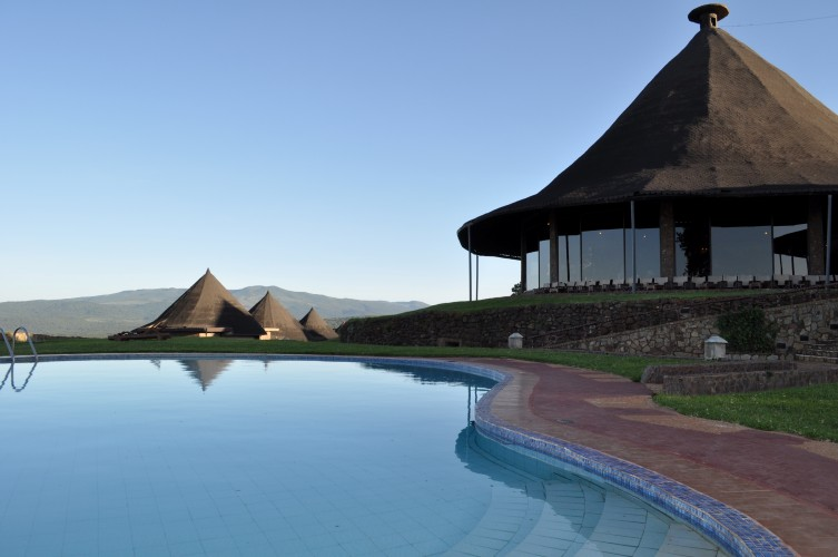 Ngorongoro Sopa Lodge Images -- the view of the restaurant from the pool