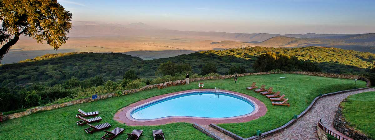 Ngorongoro Sopa Lodge images -- aerial view of the Crater from the lodge