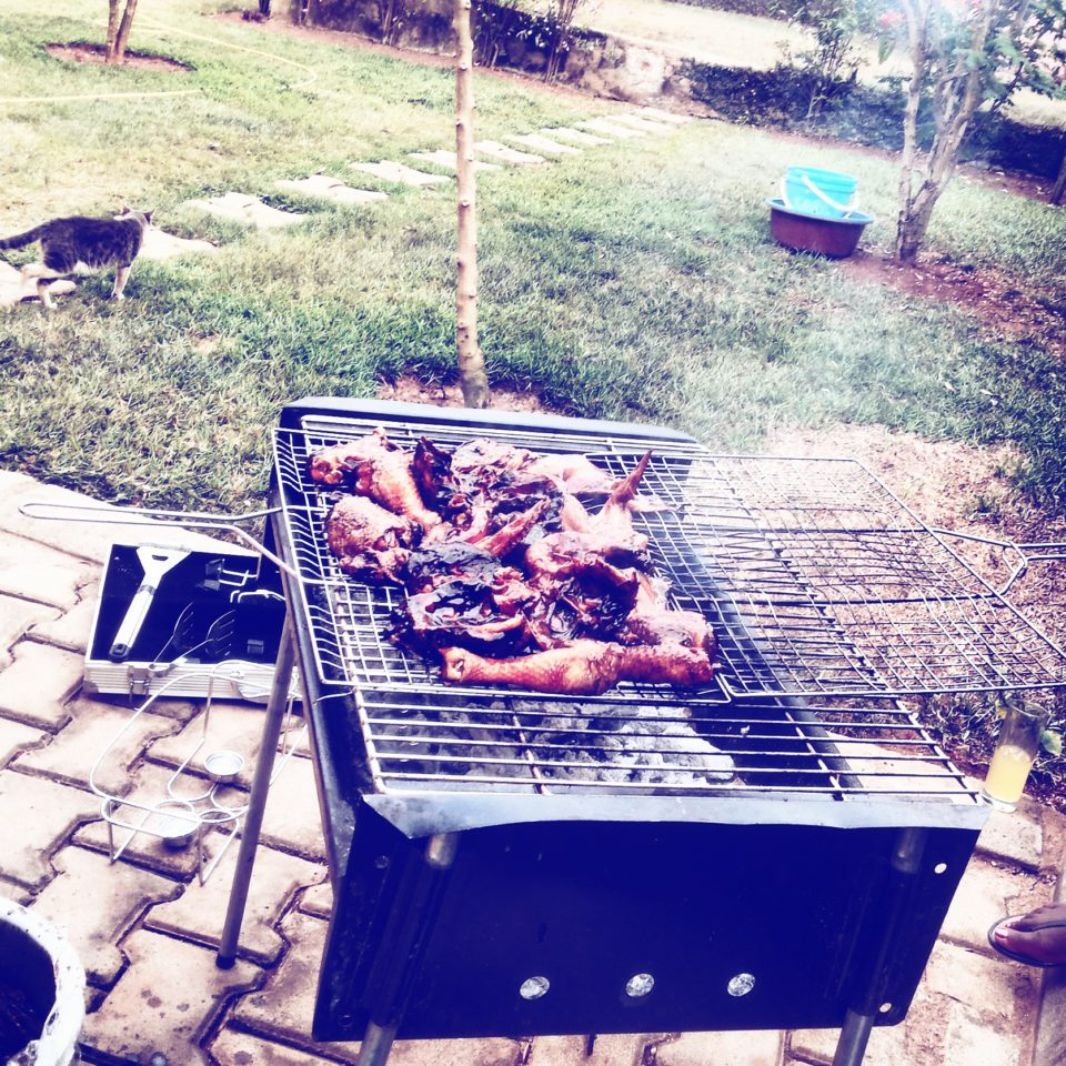 Barbecuing in Kampala, Uganda