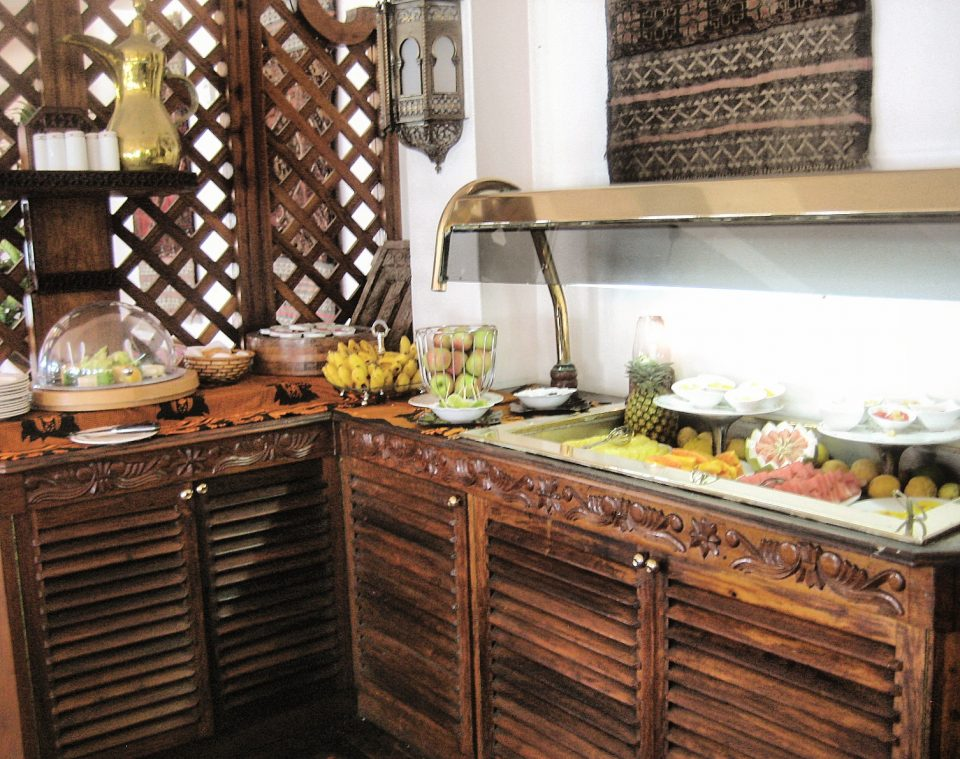 Breakfast buffet table at Zanzibar Serena Inn