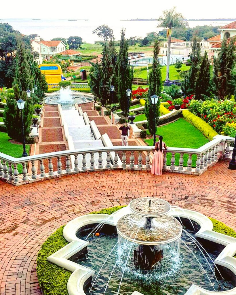 The Gardens and Water Fountain at the Lake Victoria Serena Gold Resort & Spa, Kigo, Uganda