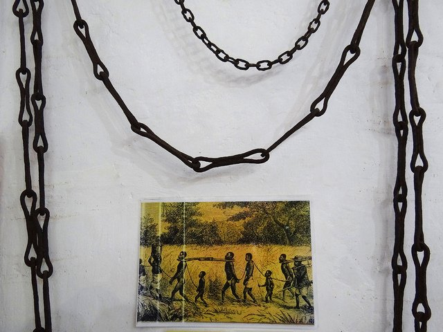 Chains used for slaves, displayed in the Roman Catholic Mission Museum in Bagamoyo