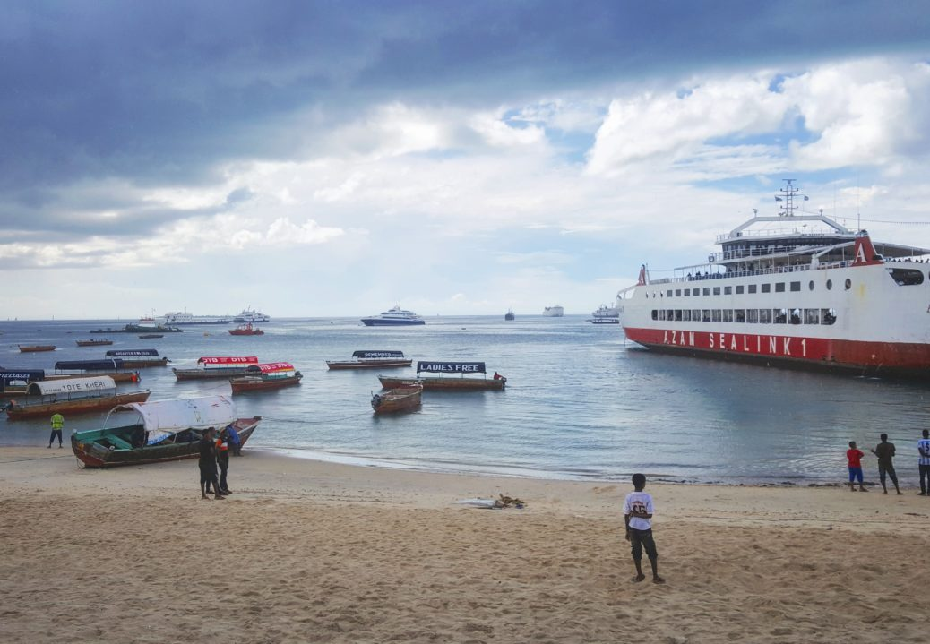 The waterfront in Zanzibar with an Azam Sealink1 ferry