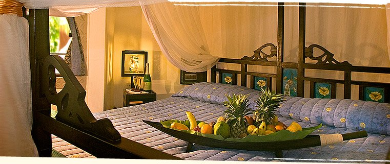 Luxury Spa Hotel in Mombasa: A bedroom at Severin Sea Lodge