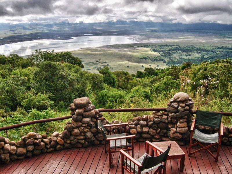 View from a balcony at the Ngorongoro Serena Safari Lodge
