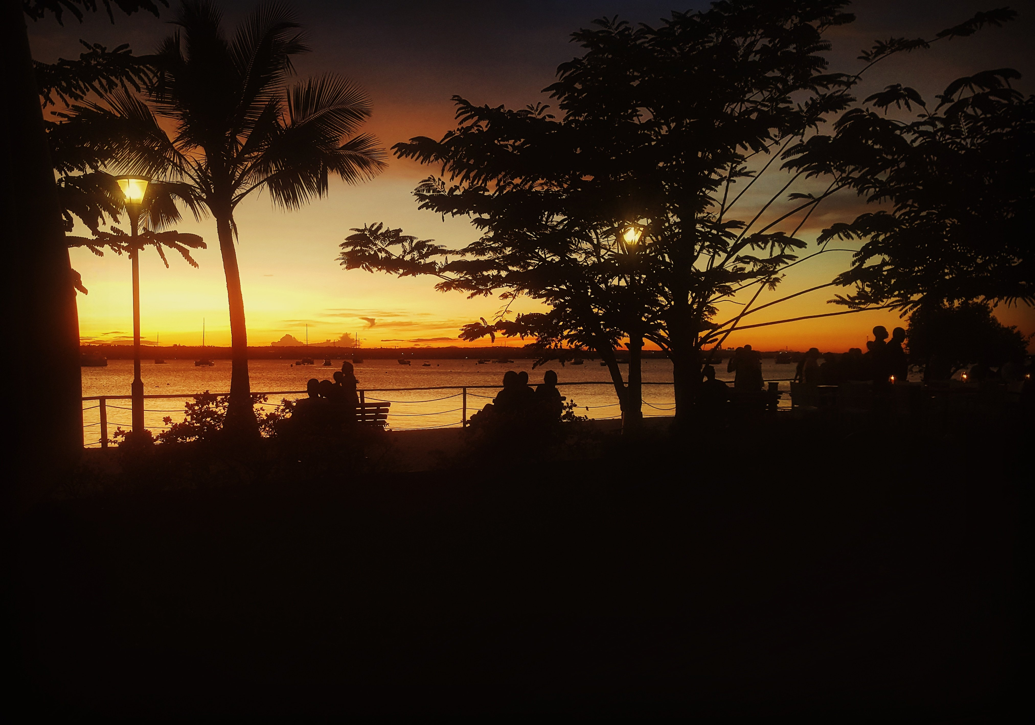 Nature views: Slipway Orange dusk over the Indian Ocean, Dar es Salaam, Tanzania