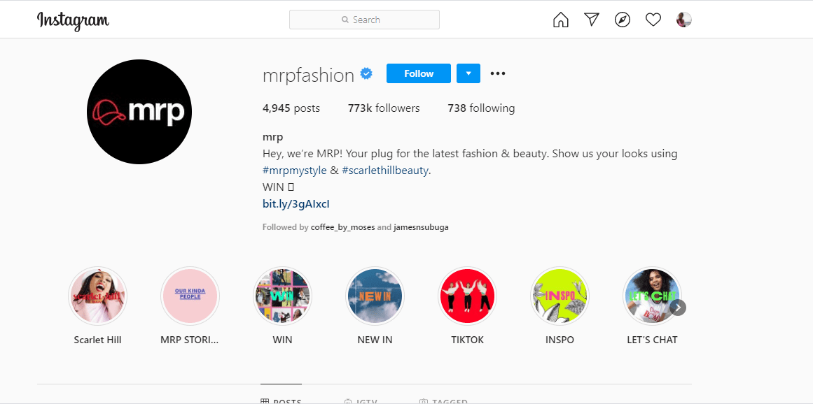 Mr Price Instagram Page Screenshot for all countries including Kenya